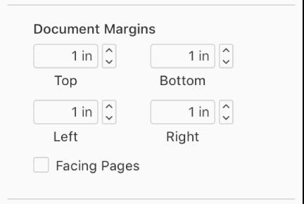 Dokumentmarger-delen av Dokument-sidepanelet, med kontroller for angivelse av marger øverst, nederst, til venstre eller til høyre.
