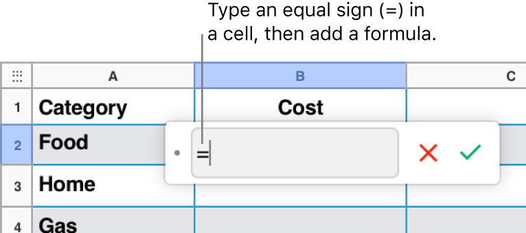 The Formula Editor with = and no formula entered.