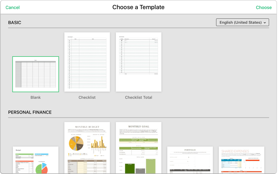 The template chooser showing several template thumbnails. The Blank template is selected.