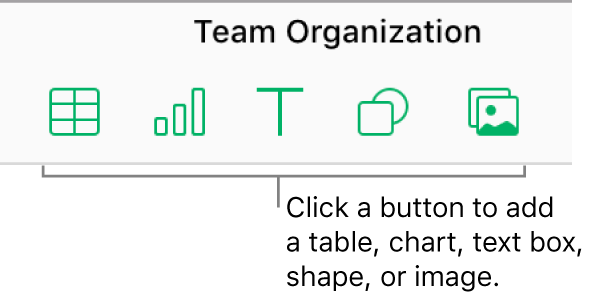 Table, chart, text, shape, and image buttons in the toolbar.