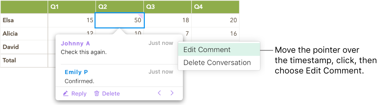 A comment is open, the pointer is over the timestamp at the top, and the pop-up menu shows two options: Edit Comment and Delete Conversation.
