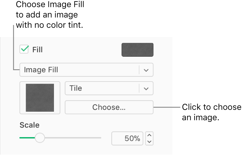 The Fill checkbox is selected in the sidebar, and Image Fill is chosen in the pop-up menu below the checkbox. Controls for choosing the image, how it fills the object, and the image's scale, appear below the pop-up menu. A preview of the image appears in a square below the Image Fill pop-up menu after an image is chosen.