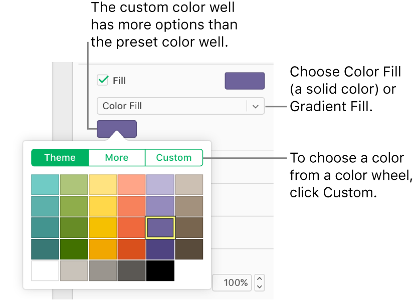 Color Fill is selected in the Fill pop-up menu, and the color well below the pop-up menu shows the colors popover, with the Theme, More, and Custom color fill buttons at the top; the Theme button is selected by default.