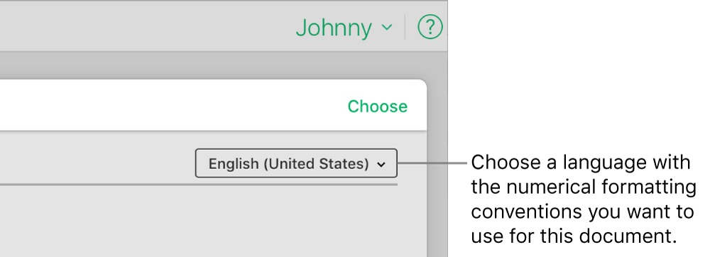 The pop-up menu on the top-right side of the template chooser with English (United States) selected.