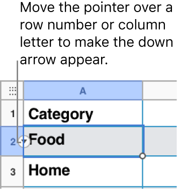 A row number is selected in a table, and a down arrow is visible to its right.