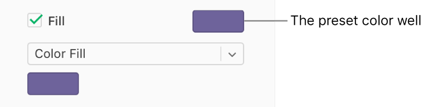 The Fill checkbox is selected in the sidebar, and the preset color well to the right of the checkbox is filled with purple. Below the checkbox, Color Fill is chosen in a pop-up menu, and below that, the custom color well is filled with purple.
