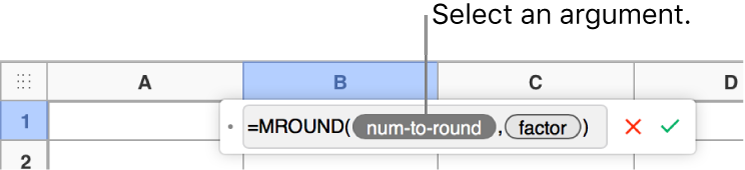 The Formula Editor with the SUM function entered and a callout to the value argument token.