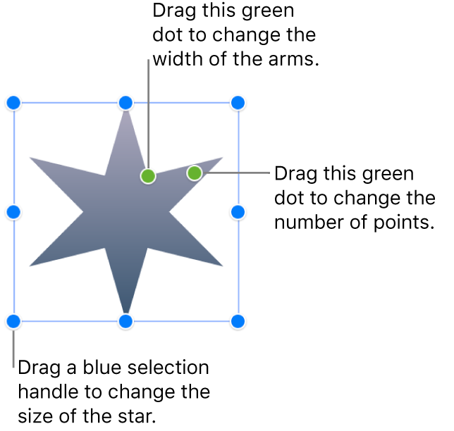 A star shape selected, with two green dots that you can drag to change the width of the arms and number of points.