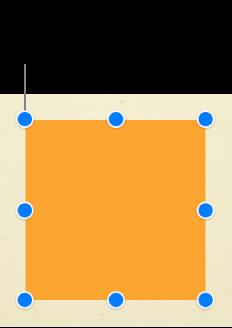 Objeto cuadrado con tiradores de selección visibles en todas las esquinas y en el centro de cada lateral.