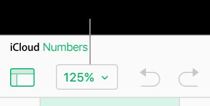 Menú emergente Zoom en la barra de herramientas