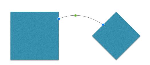 Dos figuras, un cuadrado y un diamante, conectadas por una línea de conexión.