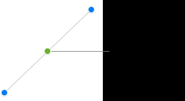 Una línea de conexión recta está seleccionada; hay tiradores de selección azules en cada extremo y un punto verde en el centro.