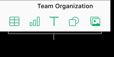 Botones de tabla, gráfica, texto, figura e imagen en la barra de herramientas.