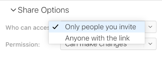 """El menú emergente """"Quién puede acceder"""" en Opciones para compartir."""