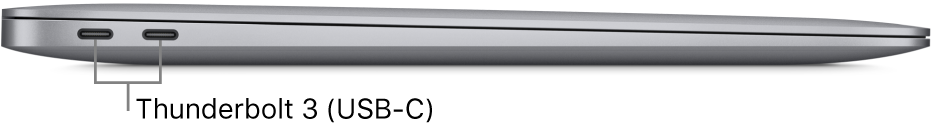 The left side view of a MacBook Air with callouts to the Thunderbolt 3 (USB-C) ports.