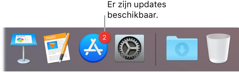 Een gedeelte van het Dock met daarin het AppStore-symbool met een badge die aangeeft dat er updates beschikbaar zijn.