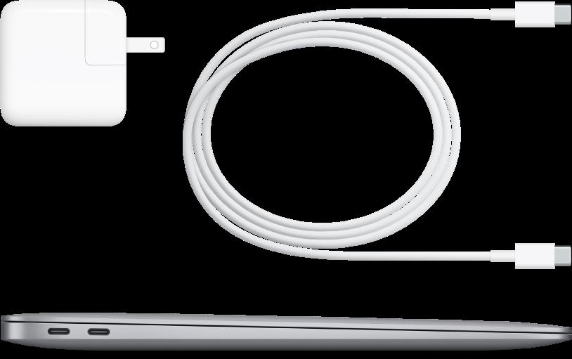 Zijaanzicht van de MacBookAir met bijgeleverde accessoires.
