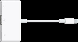 De VGA-multipoortadapter met USB-C-aansluiting.
