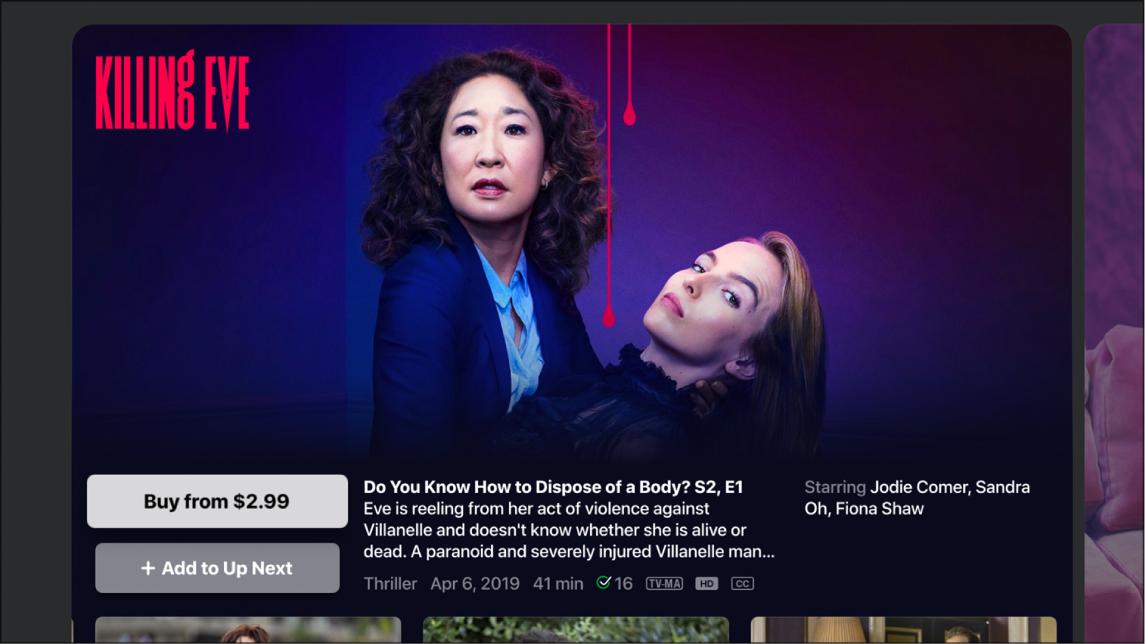 Écran d'information sur une sérieTV