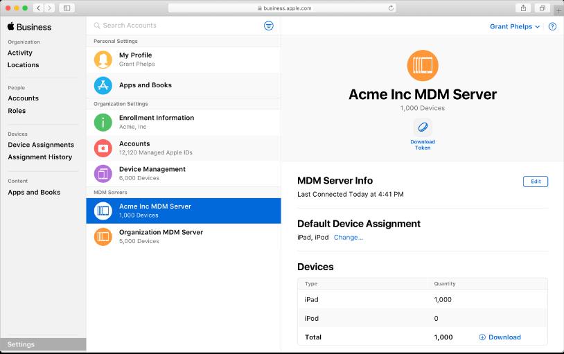 Puoi aggiungere automaticamente dispositivi a Apple Business Manager.