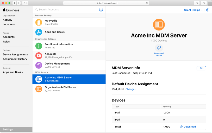 Apple Business Managerにデバイスを自動的に追加できます。