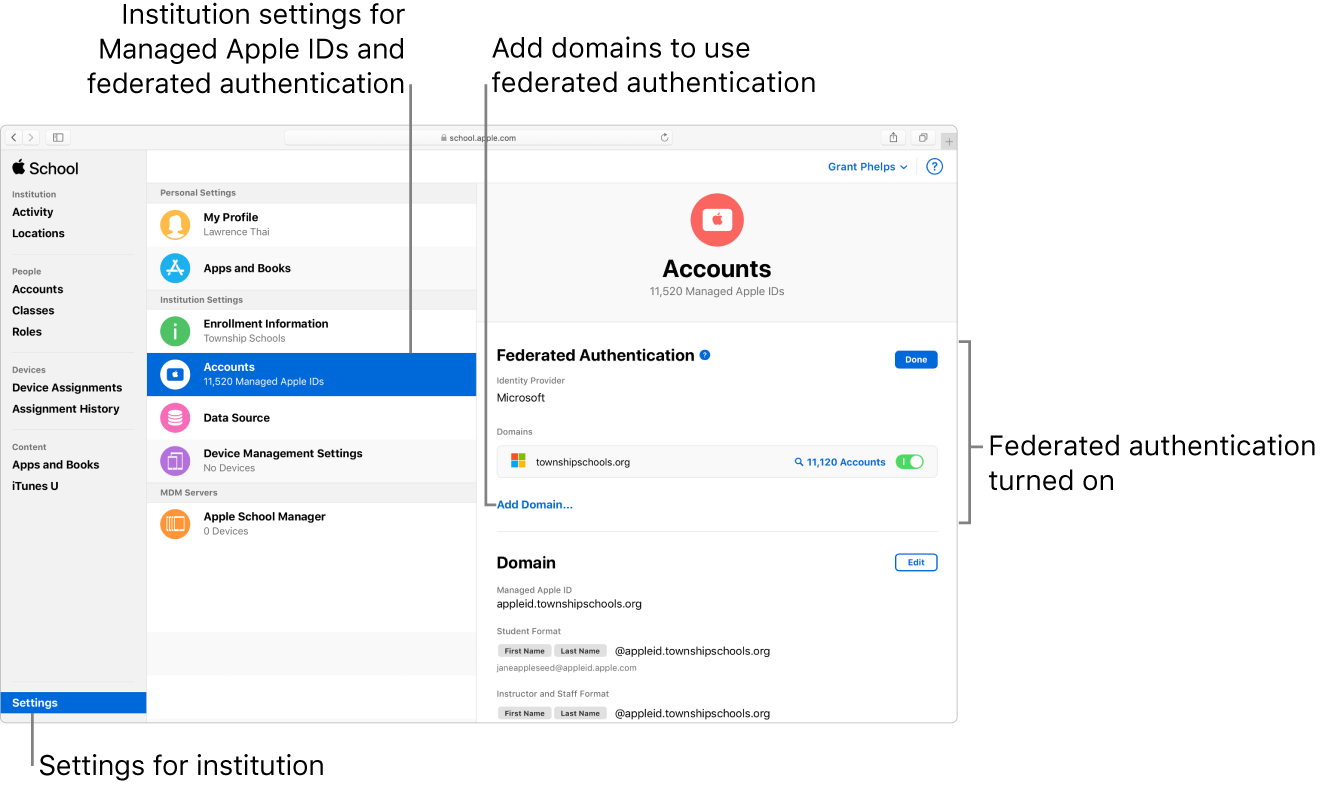 Federated authentication allows you to link Apple School Manager with Microsoft Azure Active Directory.