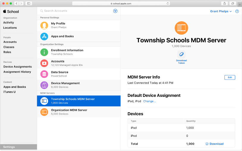 Puedes agregar dispositivos automáticamente a AppleSchoolManager.