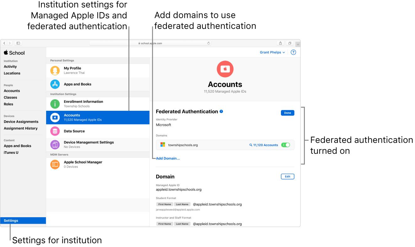Med forent autentisering kan du koble AppleSchoolManager til Microsoft Azure Active Directory.