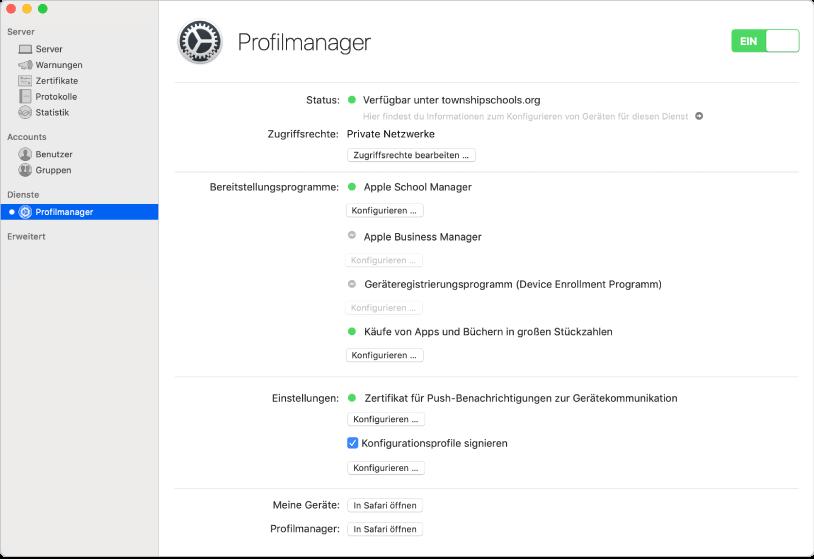 Der Profilmanager wird mit der Server-App gestartet und mithilfe der Webschnittstelle des Profilmanagers konfiguriert.