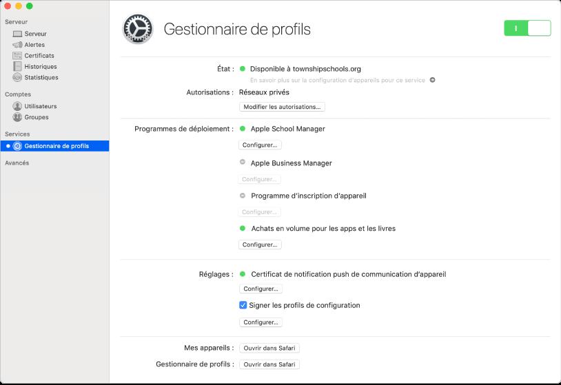 Gestionnaire de profils est activé à l'aide de l'app Server et est configuré à l'aide de l'interface web de Gestionnaire de profils.