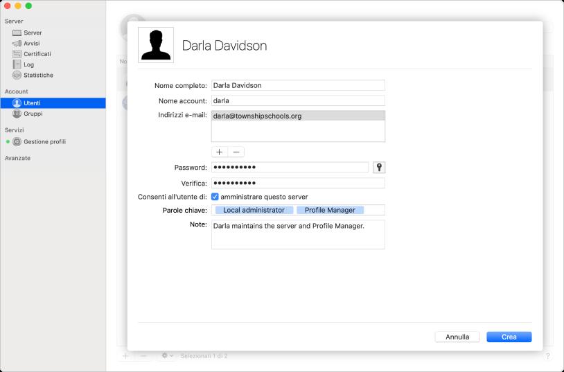 Gli utenti vengono creati tramite l'app Server e possono includere parole chiave e note sull'utente.