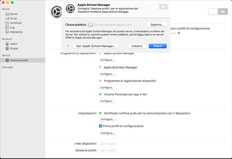 "Collega Apple School Manager o Apple Business Manager a ""Gestione profili"" usando l'app Server."