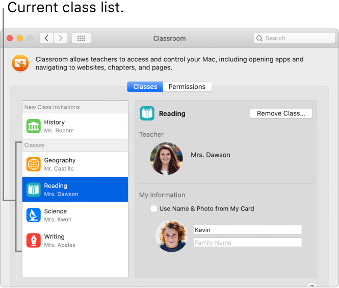 Students' view of Classroom classes that are available to them.