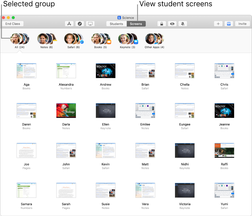 A Classroom window showing the Screens button selected in the row of actions and a selected group shows screens can now be viewed.