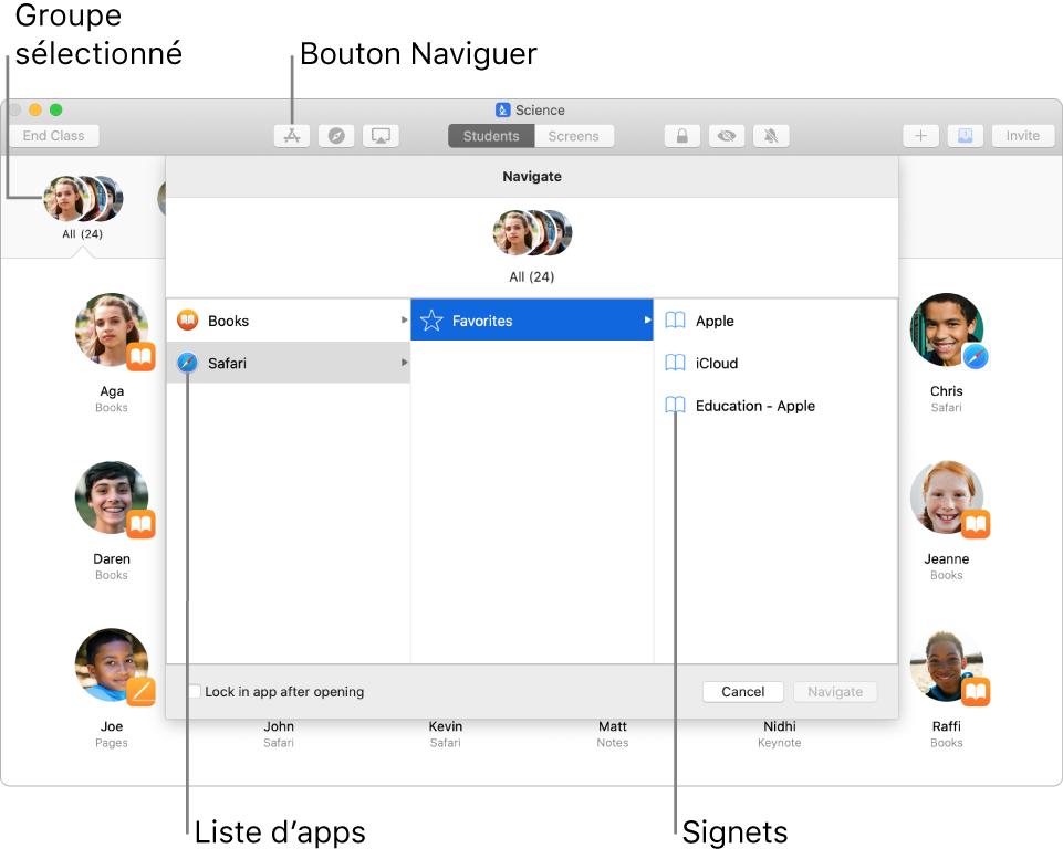 Fenêtre En classe mettant en évidence le bouton Naviguer et un groupe sélectionné. Ici, les élèves peuvent choisir d'accéder à Livres ou à Safari.