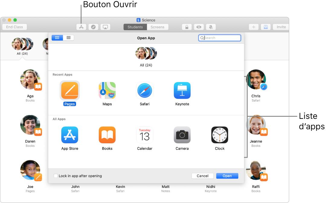 Fenêtre En classe présentant les apps qui s'affichent lorsque vous touchez Ouvrir.