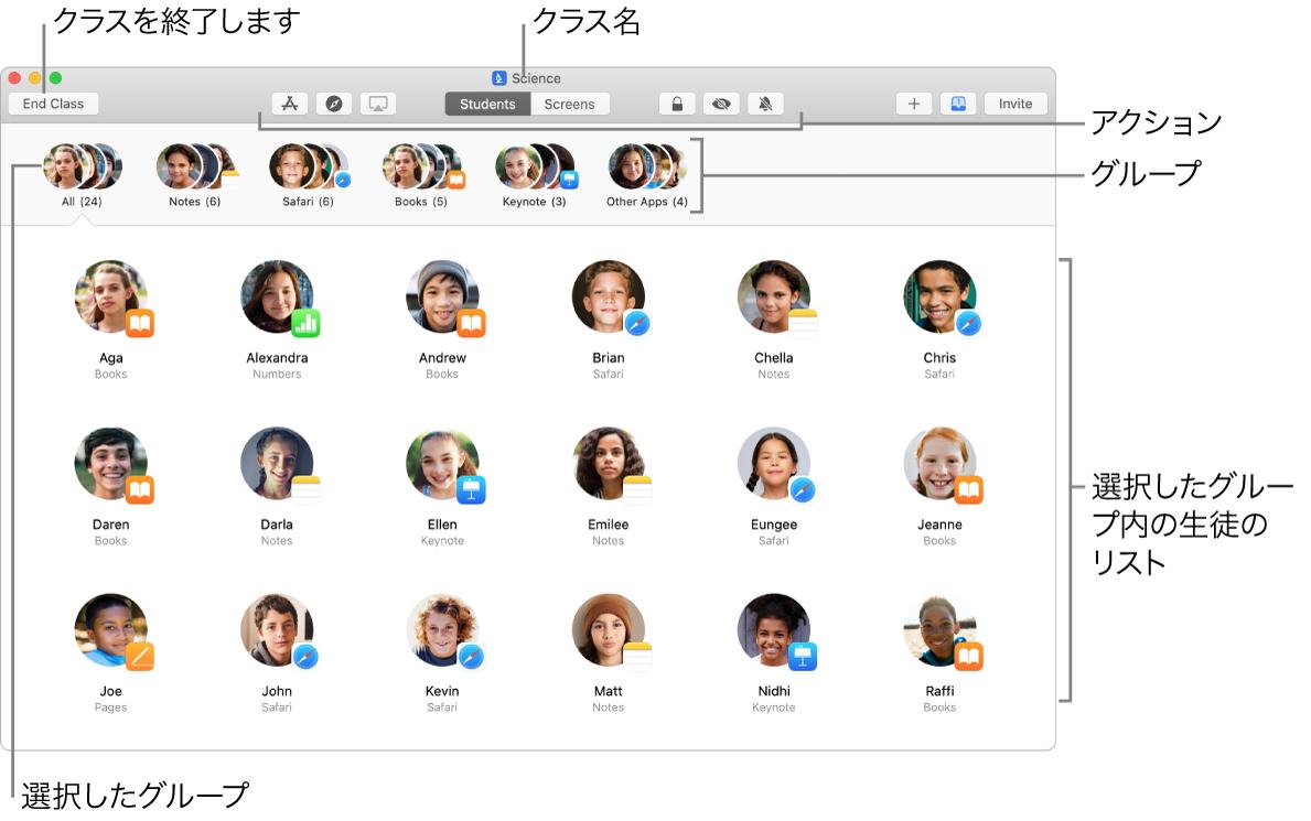 Mac 上の「クラスルーム」のメイン画面。