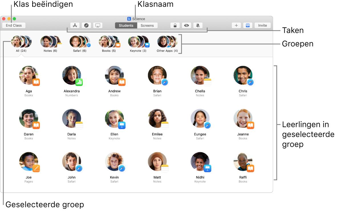 Hoofdweergave van Klaslokaal op een Mac.