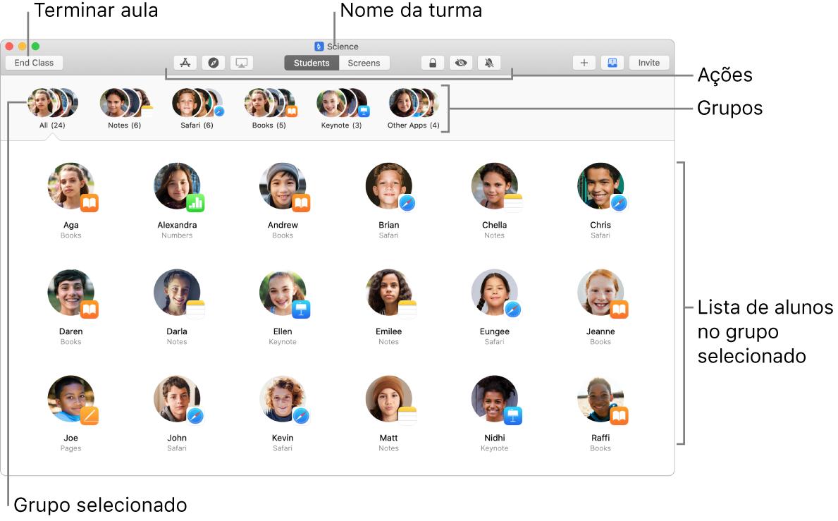 Vista principal da aplicação Sala de Aula no Mac.
