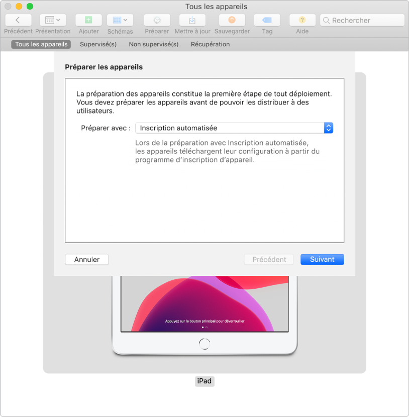 Vous pouvez faire appel à une approche sans la moindre interaction de l'utilisateur (sans opération tactile) pour gérer les appareils.
