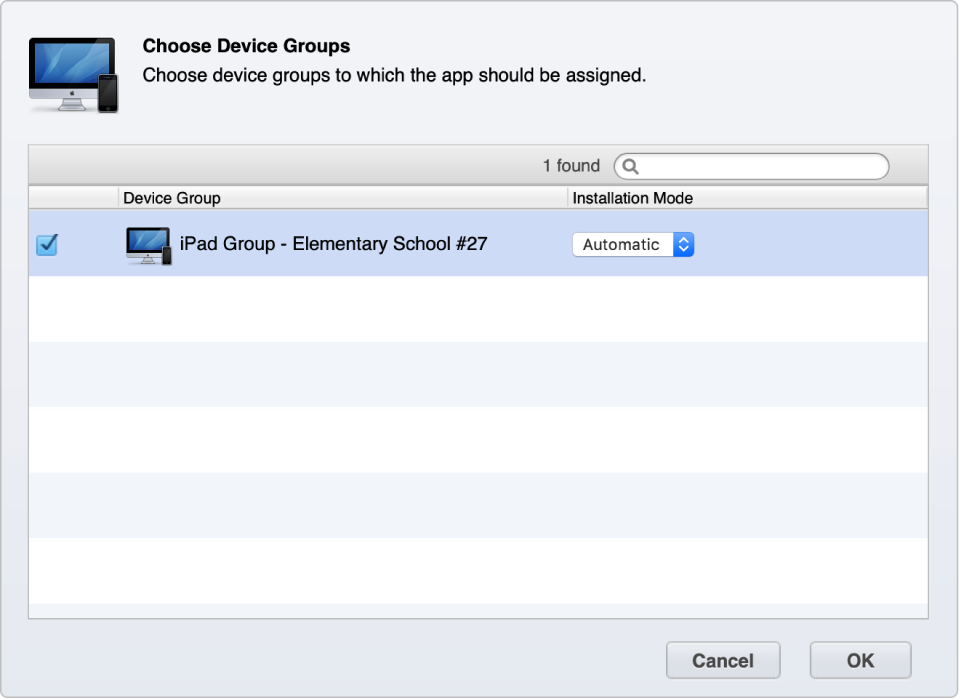 Create a device group based on device type, location, or group of users and then set the group to automatically add apps.