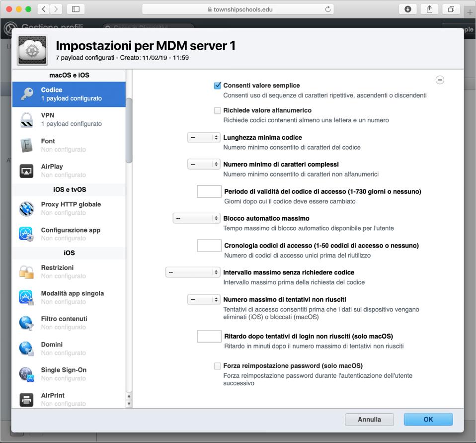 """I dispositivi Apple possono essere registrati in """"Gestione profili"""" e assegnati a utenti specifici."""