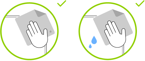 Two images showing the two types of cloth that can be used to clean a standard glass display.