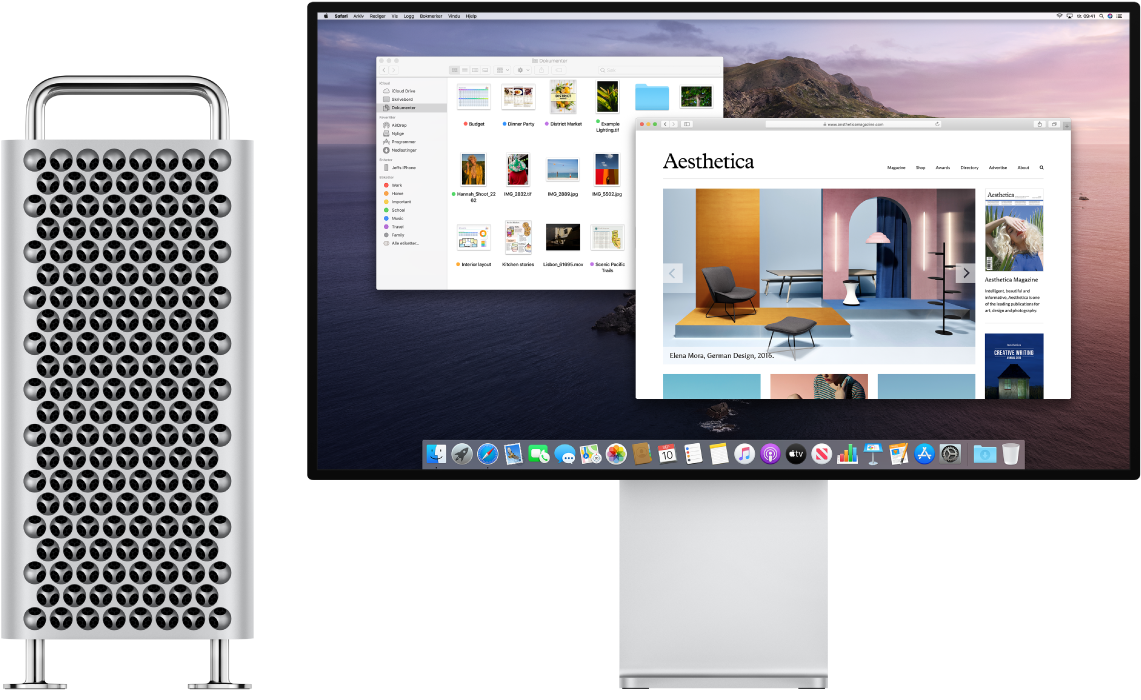 MacPro og ProDisplayXDR ved siden av hverandre.
