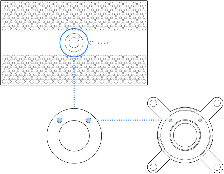 Zadná strana displeja Pro Display XDR sprerušovanými čiarami znázorňujúcimi miesta, kam sa má pripevniť VESA adaptér.