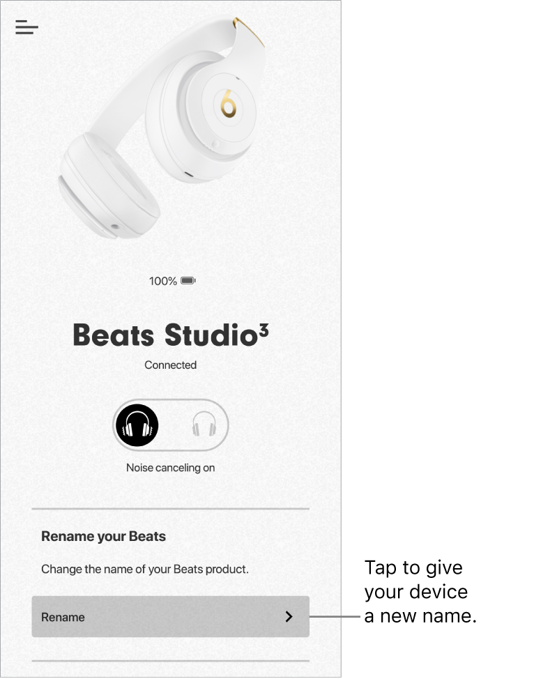 Studio3 device screen showing Rename button
