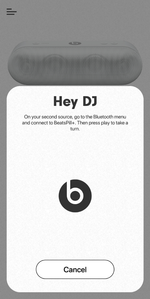 Beats app DJ mode waiting for second device to connect
