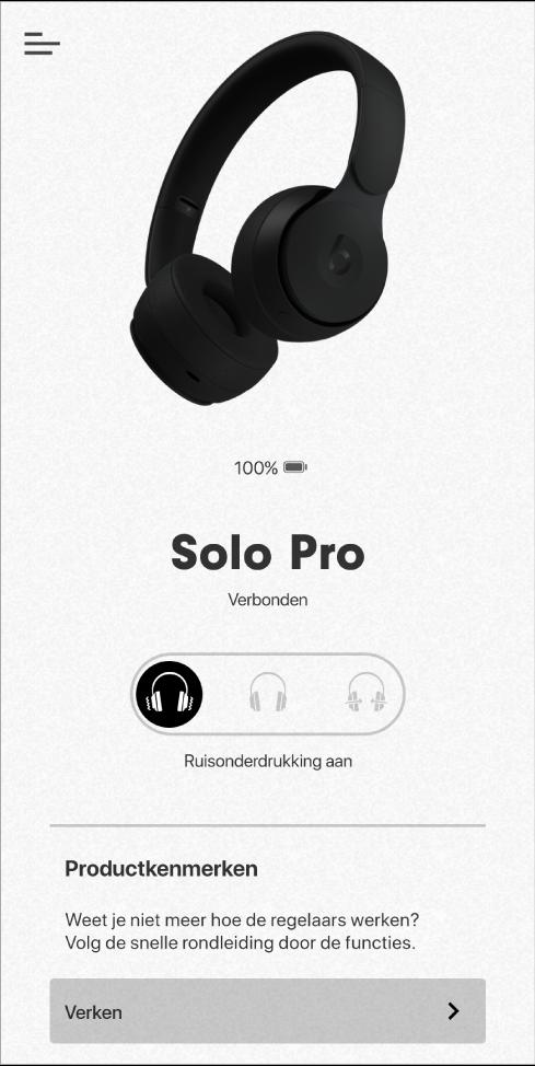 SoloPro-apparaatscherm