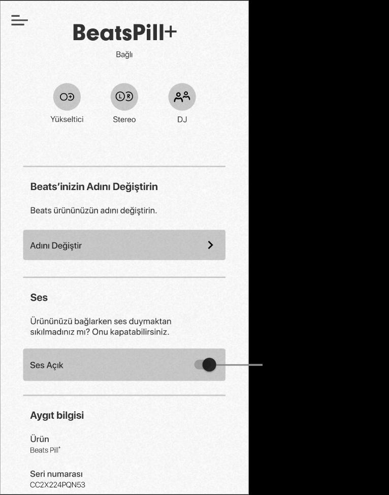 """Beats uygulaması aygıt ekranındaki """"Sesler"""" denetimi"""