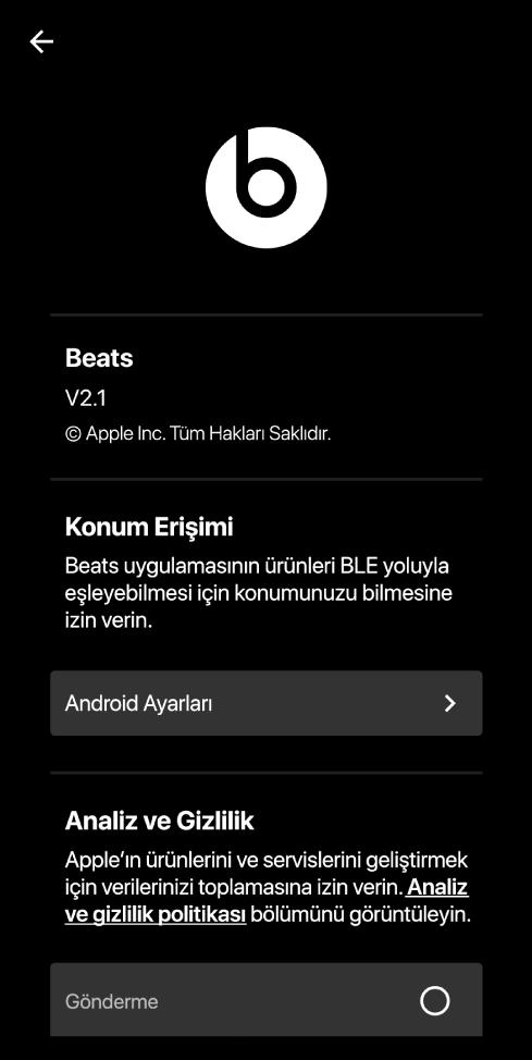 Beats uygulama sürümünü, Konum Erişimi ayarlarını ve Analiz ve Gizlilik ayarlarını gösteren Beats uygulama ayarları